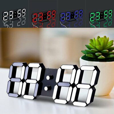 3D Digital LED Night Wall Clock Alarm Watch Display Temperature Modern USB UK