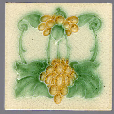 Corn Brothers - c.1905 - Yellow Grapes & Green Leaves - Antique Art Nouveau Tile