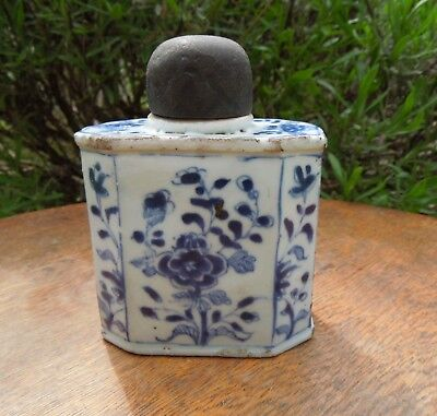 Chinese Blue & White Antique Tea Caddy Cannister 18th Century?
