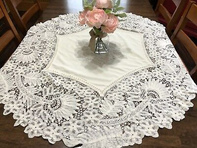 "STUNNING Vintage Battenberg Lace 56"" Round Tablecloth or Topper (RF827)"