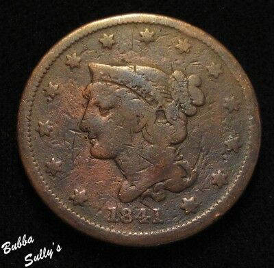 1841 Braided Hair Large Cent <> G to VG Details