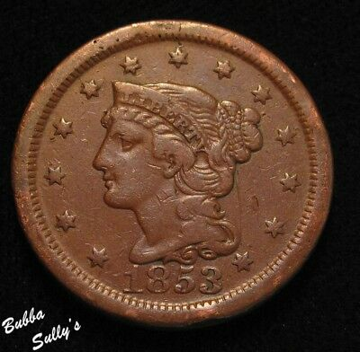 1853 Braided Hair Large Cent <> F Details