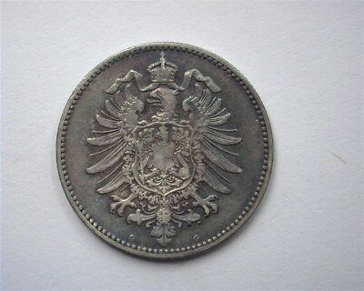 Germany 1874-G Silver Mark  Choice About Uncirculated  Toned!
