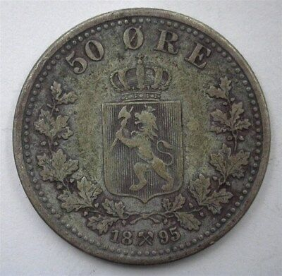 Norway 1895 Silver 50 Ore  Extremely Fine