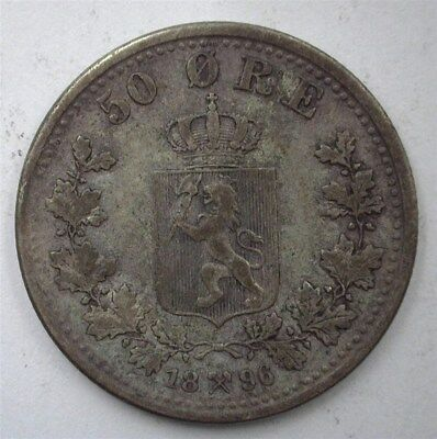 Norway 1896 Silver 50 Ore  Choice Extremely Fine