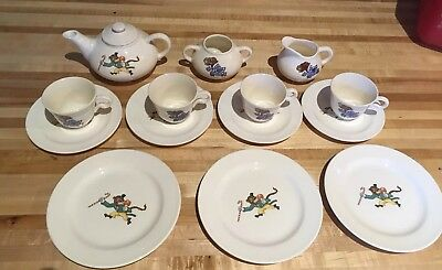VINTAGE Roller Skating Animals circus CHILD'S TEA SET Edwin M. Knowles China
