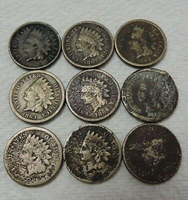 (8) Count Indian Head Copper-Nickel Small Cent Coin Lot + 1 Flying Eagle