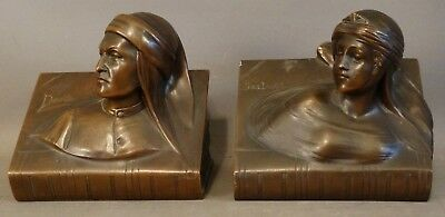 Antique ART NOUVEAU Era BRONZED Spelter DANTE & BEATRICE Bust BOOKENDS Statue