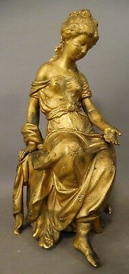 19thC Antique VICTORIAN GILT Spelter LADY STATUE Clock Topper PARLOR SCULPTURE