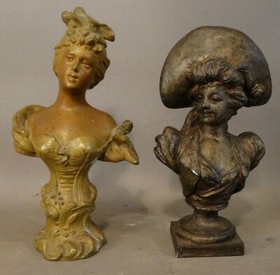 Lot (2) 19thC Antique VICTORIAN Sculpture LADY BUST Parlor STATUE Paperweight