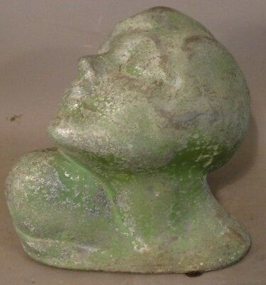 1920's Antique ART DECO Era LADY HEAD Sculpture BUST Old STATUE Figural BOOKENDS