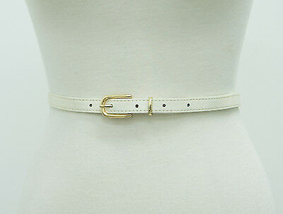 vintage 90s SKINNY BELT ivory faux leather gold nautical preppy retro XS / S