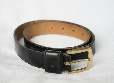 vintage 80s 90s BLACK LEATHER BELT 100% leather brass buckle preppy retro S