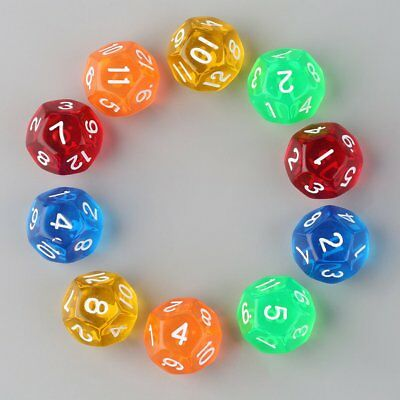 10pcs/Set Multicolor Transparent 12-Sided Role Playing Game Dices D12 New #