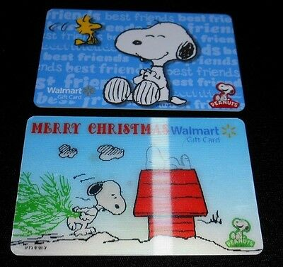 2 Collectible Gift cards SNOOPY 3D Lenticular Walmart Store Lot No Value <2010