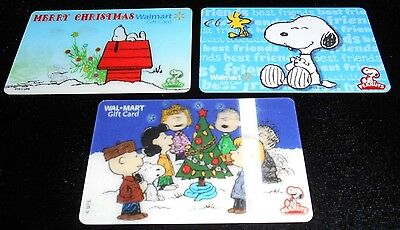 3 Collectible Gift cards SNOOPY 3D Christmas Walmart Store Lot No Value <2010