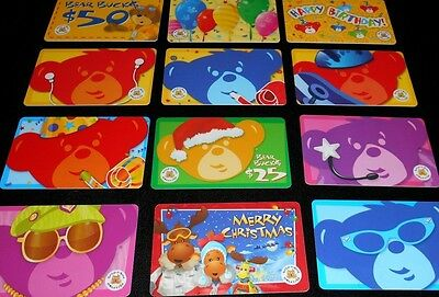 12 Collectible Gift Card Build A Bear Toy Store Children Diff Lot No Value <2010