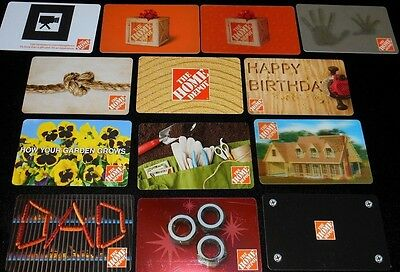 13 Collectible Gift Card Home Depot Store Hardware Man Diff Lot No Value <2010