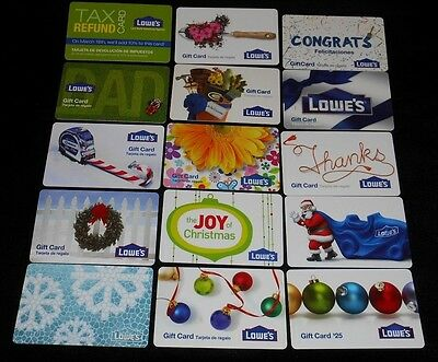 15 Collectible Gift Card Home Lowe's Hardware Man Store Diff Lot No Value <2010