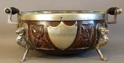Antique ENGLISH OAK & NICKEL SILVER Figural CAMEL BUST Statue CENTERPIECE BOWL