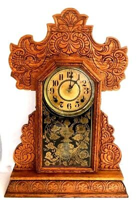 ANTIQUE, Wm GILBERT's Gingerbread Style WOODEN MANTLE CLOCK w/ Key.