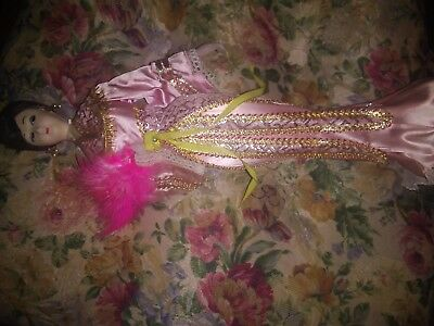 """Chinese doll with pink dress and feather. approx. 14"""""""