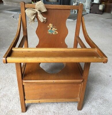 Vintage Wooden Child Potty Chair With Tray ~Little Bo Pee Decal~ VERY NICE !