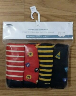4 Old Navy Boys Boxer Briefs 4T-5T Toddler Football Stripes Pack Pair NEW NIP