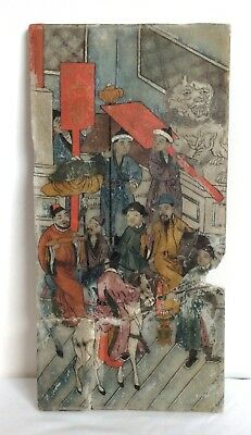 18Th Century Chinese Panel Painting On 2 Sides Of Alabaster Figures Fu Dog