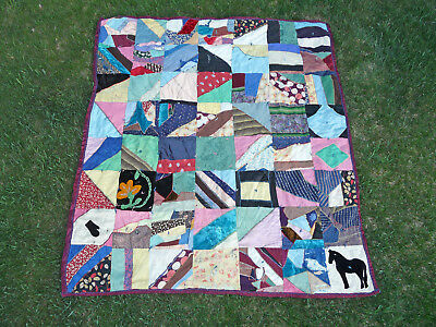 "Vintage Antique CRAZY QUILT American Folk Art 80"" x 70"" Handmade in Colorado"