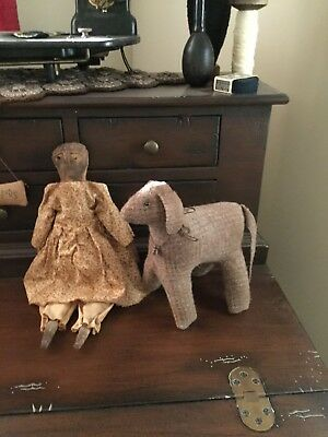 Early Primitive Cloth Rag Doll And Her Wool Lamb Sheep