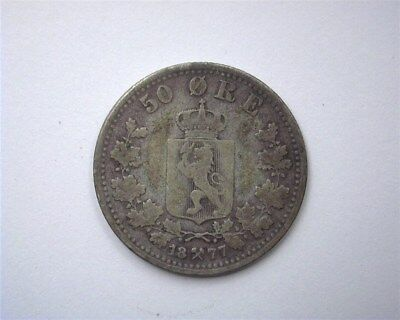 Norway 1877 50 Ore  Choice Fine