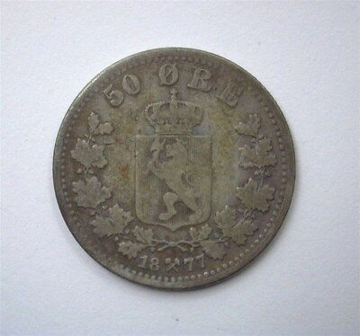 Norway 1887 Silver 50 Ore  Choice Fine