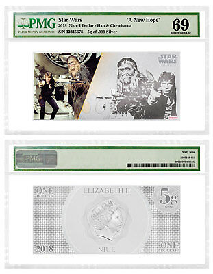 2018 Star Wars New Hope Han Solo/Chewbacca Foil Note 5 g Silver PMG 69 SKU53589