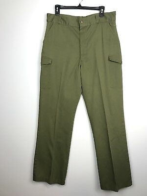 "Vintage Boy Scouts Of America Pants Olive Green Waist 34 x 31"" inseam hemmed"