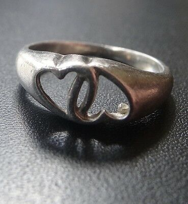 vintage 925 STERLING SILVER intertwined love heart ring small size 4 -N221