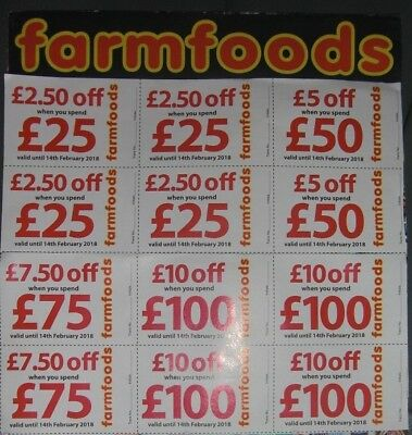 Farmfoods Coupons Vouchers 10% Discount. Worth £75.  Until 31st May 2018