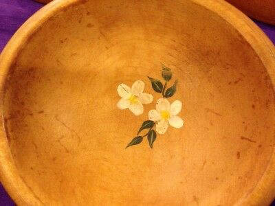 "Munising Wooden Bowls (3) 6 1/2"" Flowers"