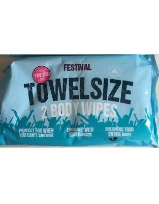 2packs Of Towel Size Body Festival Wipes Over 1 Metre Long (4 Body Towel Wipes)