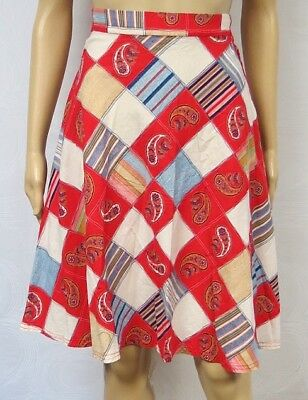 Vintage 70s Skirt A Line Full Fit Flare Bandanna Patchwork Stripe Paisley Cotton