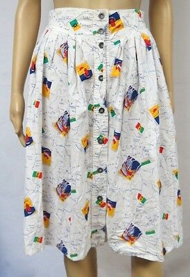 Vintage 80s Skirt Novelty Nautical Flag Map Sailing Sea Button Down Kitschy