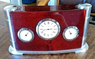 WM Widdop art deco style lacquered wood & chrome desk clock