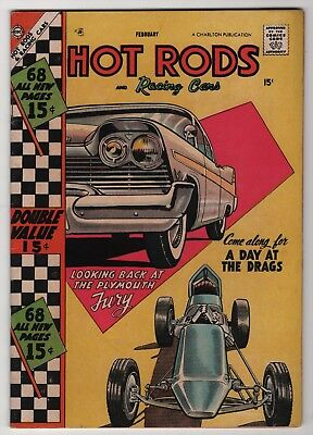 Hot Rods and Racing Cars #34 nice 68-page giant 1957 Charlton Plymouth Fury