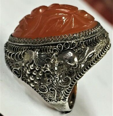 Ornate Antique Victorian Sterling Silver & Carved Carnelian Scarab Spider Ring