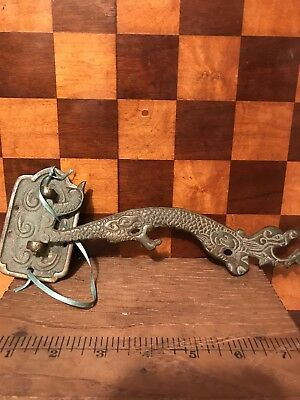 Antique Hardware Victorian Cast Brass Plant Birdcage Hook Hanger Figural Dragon