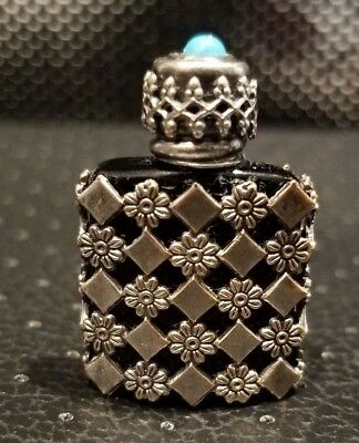 Antique Cologne Perfume Glass Bottle Daisy Sterling Silver Case Turquoise France