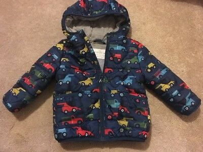 M&S Baby Boys Vehicle Tractor Digger Car Hooded Coat 12-18 Months Blue