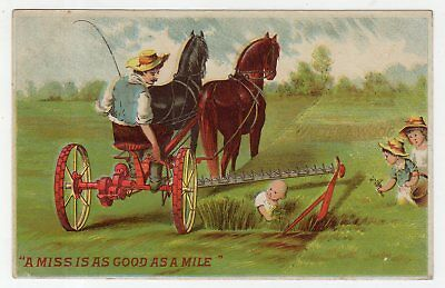 Farm Machinery Tradecard, Walter A. Wood Mower Misses Baby Playing In The Hay