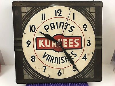 Vintage Kurfees Paints And Varnish Clock Antique Electric Art Deco Gameroom Cool