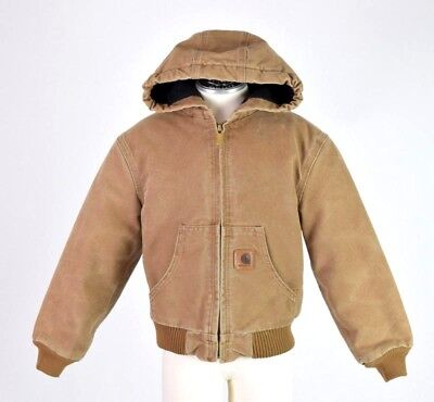 Vtg 90s CARHARTT Brown Canvas Hooded Quilt Lined Work Jacket Boys Kids S   6 - 7